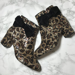 Kate Spade Leopard Sequin Bow Langley Boots 7M